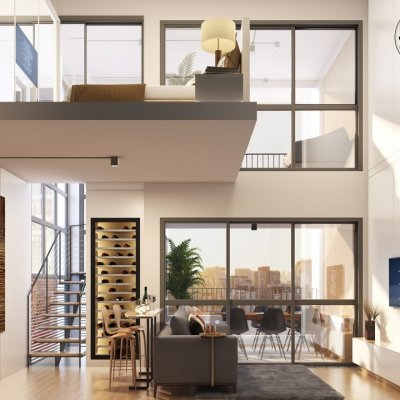 Living 1 Dorm_Duplex de 56m²_Ângulo 2