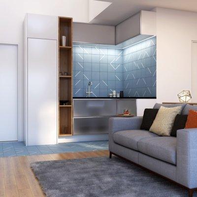 Living 1 Dorm_Duplex de 56m²_Ângulo 1